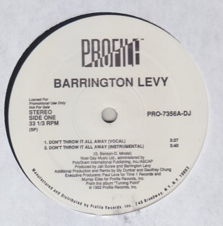 Barrington Levy - Dont Throw It All Away / Something In My Heart